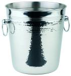 APS Wein-/Sektkühler ca. Durchmesser 21 cm, Höhe 21,5 cm Hammerschlag Edelstahl poliert mit massiven Ringgriffen eingerollter Rand