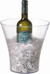 APS Wein- / Sektkühler ca. Durchmesser (oben) 22 cm, H: 23 cm ca. Durchmesser (unten) 13 cm Kunststoff SAN glasklarer Rand transparent gefrostet