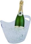 APS Wein- und Sektkühler aus Kunststoff, oval, seitliche Eingriffe, 27 x 20 x 21 cm, 3 Liter, transparent