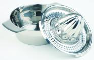 APS Zitronenpresse Durchmesser 12,3 cm, Länge 11 cm, Größe mit Griff Durchmesser 16,7 cm, Edelstahl hochglänzend schwere Qualität, 0,35 Liter