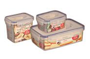 AXENTIA 3er Set Vorratsdosen Airproof, Frischhalteboxen, transparent, eckig mit 0,48 Liter, 0,9 Liter und 1,2 Liter, Set von Danto®