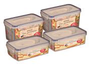 AXENTIA 4er Set Vorratsdosen Airproof, Frischhalteboxen, transparent, eckig mit je 2 mal 1,2 Liter und 2 Liter, Set von Danto®