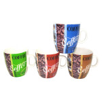 AXENTIA Kaffeebecher Kaffeedesign, runde Form, Porzellan 4 Farben sortiert