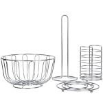 AXENTIA Küchen-Set, 4-teilig, aus verchromtem Stahldraht, Set bestehend aus: 1 x Obstkorb, 1x Besteckkorb, 1 x Untersetzer,