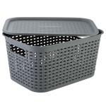 AXENTIA Kunststoff Wäschekorb mit Deckel Größe M, 43 x 16 x 29 cm, Kunststoffgeflecht, grau, Transportkorb