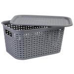 AXENTIA Kunststoff Wäschekorb mit Deckel Größe S, 29,5 x 15 x 21,5 cm, Kunststoffgeflecht, grau, Transportkorb