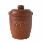 AXENTIA Mehrzwecktopf 10l braun mit Deckel und Gärrinne Keramik