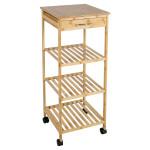 AXENTIA Mobiler Küchenschrank mit Schublade, Schrank aus Bambus, 37 x 85 x 37 cm, Kunststoff-Rollen, 4 Ebenen inkl. Arbeitsfläche, Nischenregal