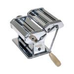Axentia Nudelmaschine, Pastamaschine, verchromt, mit Kurbel und Klemmbügel, 3 Walzen, Breite: 14,5 cm