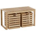 AXENTIA Sitzbank aus Bambus mit 2 Schubkästen, Sitzbank: ca. 80 x 40 x 45 cm, Schubkästen: ca. 36 x 30 x 36 cm