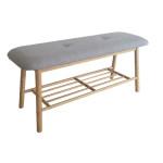 AXENTIA Sitzbank ca. 90 x 45 x 30 cm aus Bambus und 100% Baumwolle, mit Ablage unter der Sitzfläche
