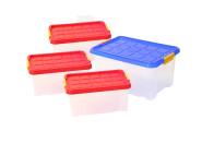 AXENTIA Unibox-Set mit Deckel, Stapelboxen, Universalbox, Spielzeugkistenset, 3 x 5 Liter und 1 x 15 Liter, Set von Danto®