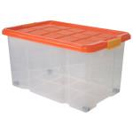AXENTIA Unibox mit Deckel und Rollen, Stapelbox, Universalbox, Aufbewahrungskiste, Spielzeugbox,  60 x 40 x 26 cm, 45 Liter