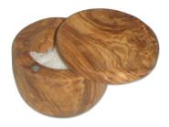 BERARD Salzbehälter mit Deckel, ca. 10 - 11 cm rund, Olivenholz