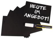 Contacto 20-er Set Schreibtafel DIN A6, 14,8 x 10,5 cm, 1 mm starkes Kunststoff, wasserlöslich beschreibbar, leicht zu reinigen, schwarz