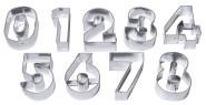 Contacto Ausstechformen ZAHLEN, groß 9 Ausstecher für alle Ziffern, aus Weißblech