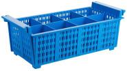 Contacto Besteckspülkorb, Kunststoff, stapelbar, mit Griffen, hitzebeständig bis 120 Grad, blau