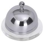 Contacto Deckel zu Butterschale 6889 aus schwerem Glas mit Cloche aus Edelstahl 18/10, Durchmesser außen 7 cm Gesamthöhe 5,5 cm