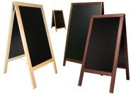 Contacto Doppeltafel natur aus dreifach lackiertem Buchenholz mit Tafel aus schwarzem PVC Kunststoff, Fläche 47,5 cm x 67 cm Breite 55 cm Höhe 85 cm