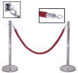 2 Stück Contacto Edelstahl Absperrpfosten, Abgrenzungspfosten, 95 cm hoch, 50 cm Fuß-Durchmesser, mit rotem 1,5m Seil