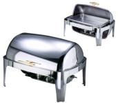 Contacto Edelstahl Chafing Dish mit Roll Top Deckel mit zwei Brennbehältern