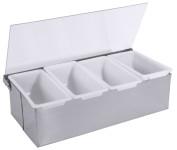 Contacto Edelstahl Gewürzkasten aus Edelstahl  mit 4 Schalen aus Kunststoff