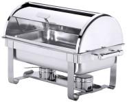Contacto Edelstahl Roll-Top Chafing Dish mit zwei Brennbehältern, 66,5 x 35 x 41 cm