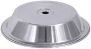 Contacto Edelstahl Tellerglocke, konisch, für Teller 23,5 - 24,3 cm, Tellerglocke mit Griffloch, Höhe 4,5 cm, gebördelter Rand, schwere Qualität