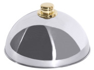 Contacto Edelstahl Tellerglocke mit vergoldetem Griffknopf, Durchmesser 25 cm