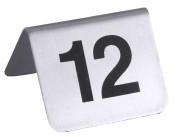 Contacto Edelstahl Tischnummernschilder, 13-24 mit schwarzem Siebdruck