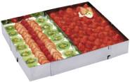 Contacto Edelstahl Tortenrahmen, rechteckig verstellbar mit Abteilblech
