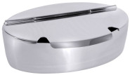Contacto Edelstahl Zuckerdose, oval, Deckel mit zwei Löffelausschnitten