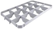 Contacto Einsatz für 15 Gläser, oben, Kunststoff, geeignet für 60 x 40 cm Transportboxen, max. Glasdurchmesser 10,5 cm