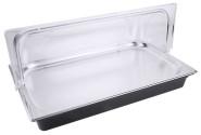 Contacto GN 1/1 Kühlsystem, schwarz komplett mit Abdeckhaube, L54 x B34 x H30 cm, vier Kühlakkus, mit Tablett GN 1/1 20 mm aus Edelstahl 18/10