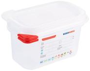 Contacto GN 1/9 Lebensmittelbehälter mit Deckel, Höhe 100 mm, 1000 ml, transparent, mit Infoaufdruck