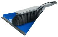 Contacto Kehrschaufelset, blau, beide Teile mit Aufhängeloch, Schaufel mit Gummikante, Kehrbesen aus Kunststoff