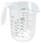 Contacto Messbecher 1 Liter aus klarem Polystyrol, Durchmesser 12 cm Höhe 15 cm