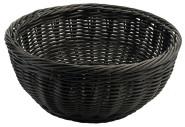 Contacto Polykorb, rund 25 cm, schwarz, Polypropylen-Korb, natur, schwere Qualität