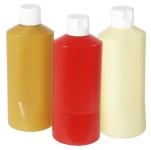 Contacto Quetschflasche 600 ml, Ø8,5 x 19,5cm, Senfflasche, Kunststoff, Schraubkappe, abgeflachte Form, einfache Handhabung, schwere Qualität, ocker