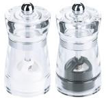 Contacto Salz-/Pfeffermühlen-Set, klar 10 cm, Volumen 70 ml, Salzmühle/Kunststoff-Mahlwerk, Pfeffermühle/Keramik-Mahlwerk