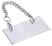 Contacto Schild für Kanne, neutral ohne Beschriftung, hochglänzend poliert, an 35 cm langer Kette