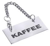 Contacto Schild für Kannen: KAFFEE für Buffet in Bistro und Gastronomie, hochglänzend poliert, an 35 cm langer Kette