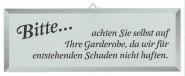 Contacto Schild GARDEROBENHAFTUNG
