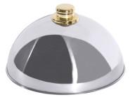 Contacto Tellerglocke aus Edelstahl 18/10 mit goldfarbenen Griffknopf, Durchmesser 25 cm Höhe 13,5 cm