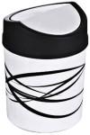 Contacto Tischabfallbehälter aus weißem Polypropylen mit Schwingdeckel, Durchmesser 12,5 cm Höhe 18 cm Volumen 1,8 Liter