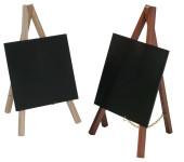 Contacto Tischstaffelei mehrfach lackierter Buchenholzrahmen mit Tafel aus schwarzem PVC Kunststoff, 13 cm x 15 cm Höhe 24 cm