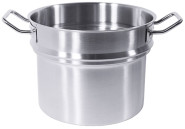 Contacto Wasserbadeinsatz mit verstärkten Kaltgriffen, Ø 32 cm, 15000 ml, Edelstahl, geschlossene Ausführung, schwere Qualität
