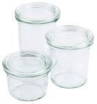 Contacto Weck Sturzglas 370 ml mit Deckel RR100 6er Karton, ideal für Buffets, Ø 8 (oben) x H12,5 cm