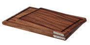 Continenta 2er Set massive Tranchierbretter mit Saftrille aus Akazienholz, dunkle Edel Holzmaserung, 37 x 25 cm und 43 x 29 cm, Set by Danto®