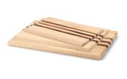 Continenta 3er Set Gummibaumholz Schneidebretter mit integrierten Akazienholz-Streifen in 3 verschiedenen Größen, Set by Danto®